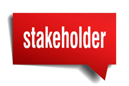 A stakeholder red 3d square isolated speech bubble
