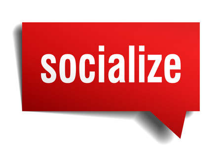 A socialize red 3d square isolated speech bubble