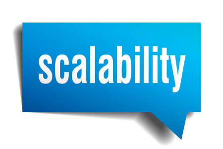 scalability blue 3d square isolated speech bubble