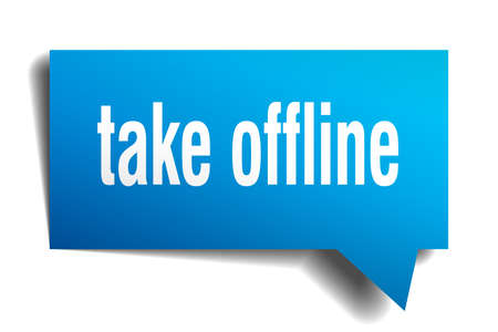 take offline blue 3d square isolated speech bubble 일러스트