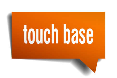A touch base orange 3d square isolated speech bubble Ilustracja