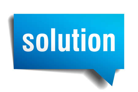 solution blue 3d square isolated speech bubble Illustration