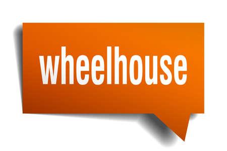 wheelhouse orange 3d square isolated speech bubble