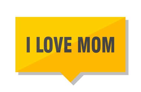 i love mom yellow square price tag