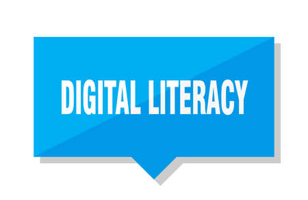digital literacy blue square price tag Иллюстрация
