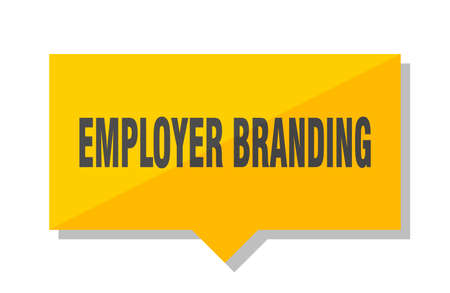 employer branding yellow square price tag Иллюстрация