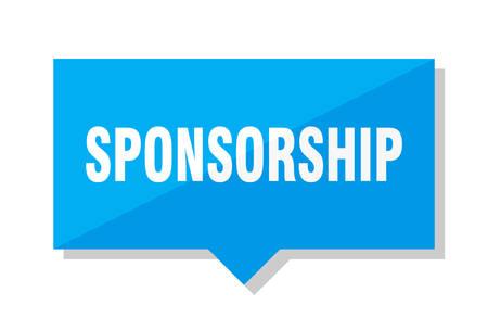 sponsorship blue square price tag Illustration