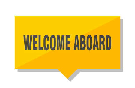 welcome aboard yellow square price tag