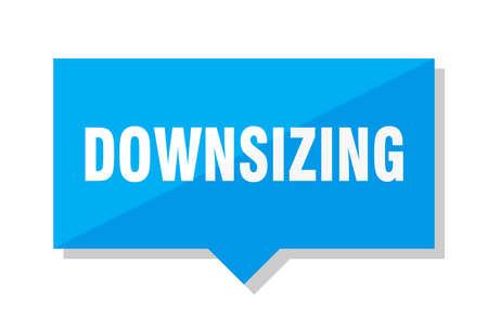 downsizing blue square price tag Illustration