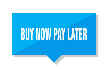 buy now pay later blue square price tag Illustration