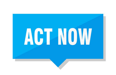 act now blue square price tag
