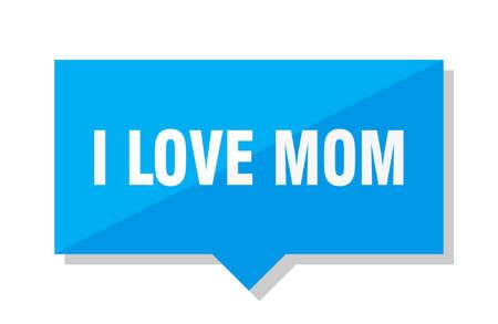 i love mom blue square price tag
