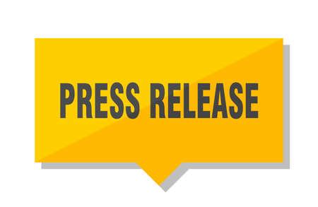 press release yellow square price tag Illustration