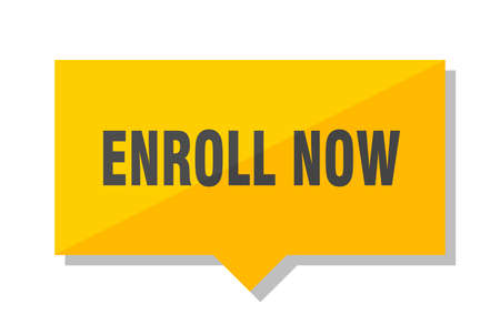 enroll now yellow square price tag Banque d'images - 101891417