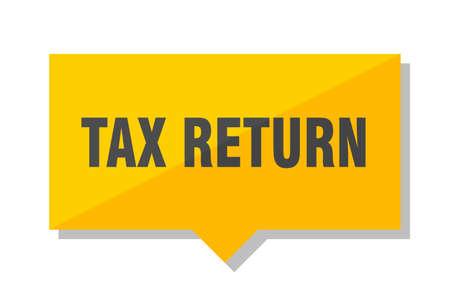 tax return yellow square price tag