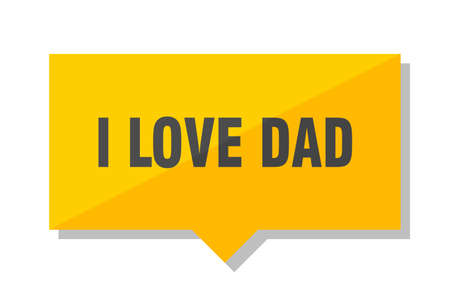 i love dad yellow square price tag