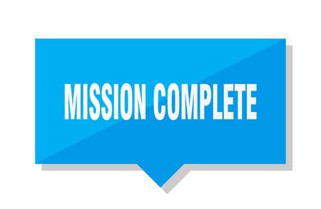 mission complete blue square price tag Illustration