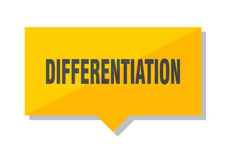 differentiation yellow square price tag Stock Illustratie