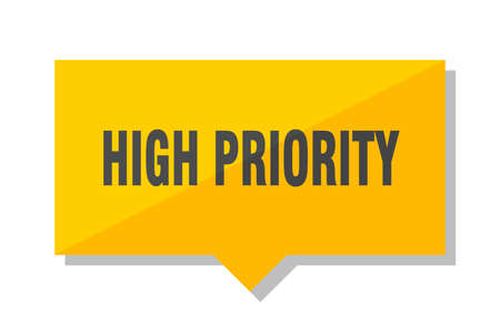 high priority yellow square price tag