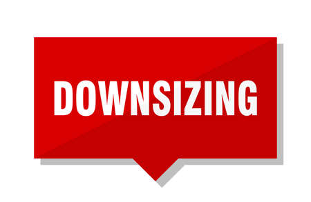 downsizing red square price tag Illustration