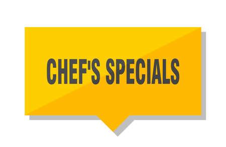 chef's specials yellow square price tag