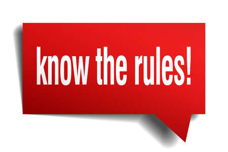 know the rules! red 3d square isolated speech bubble