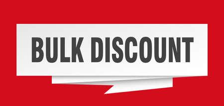 bulk discount sign. bulk discount paper origami speech bubble. bulk discount tag. bulk discount banner
