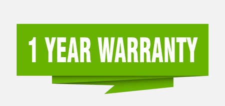 1 year warranty sign. 1 year warranty paper origami speech bubble. 1 year warranty tag. 1 year warranty banner