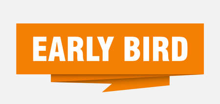 early bird sign. early bird paper origami speech bubble. early bird tag. early bird banner
