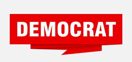 democrat sign. democrat paper origami speech bubble. democrat tag. democrat banner 矢量图像