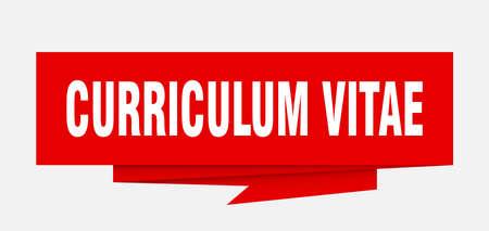curriculum vitae sign. curriculum vitae paper origami speech bubble. curriculum vitae tag. curriculum vitae banner Vectores
