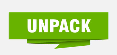 unpack sign. unpack paper origami speech bubble. unpack tag. unpack banner