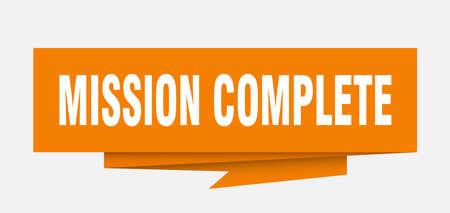 mission complete sign. mission complete paper origami speech bubble. mission complete tag. mission complete banner Vektorové ilustrace