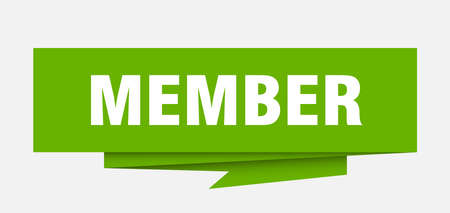 member sign. member paper origami speech bubble. member tag. member banner Vectores