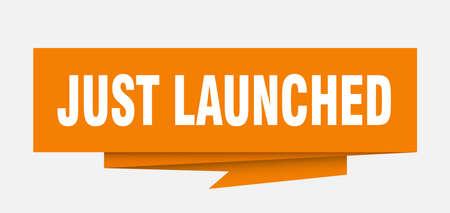 just launched sign. just launched paper origami speech bubble. just launched tag. just launched banner Illusztráció