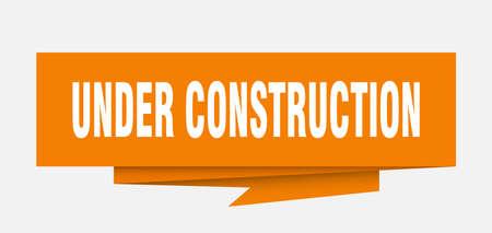under construction sign. under construction paper origami speech bubble. under construction tag. under construction banner