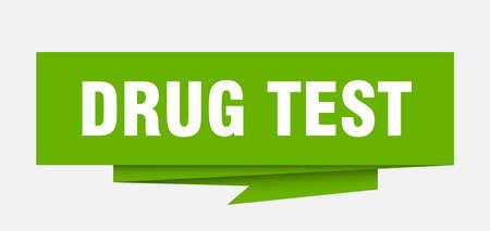 drug test sign. drug test paper origami speech bubble. drug test tag. drug test banner