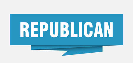republican sign. republican paper origami speech bubble. republican tag. republican banner