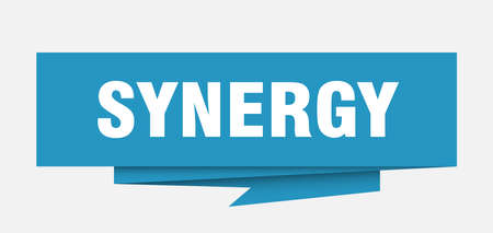 synergy sign. synergy paper origami speech bubble. synergy tag. synergy banner
