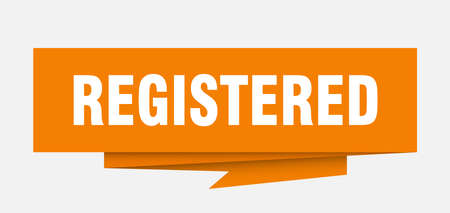 registered sign. registered paper origami speech bubble. registered tag. registered banner 向量圖像