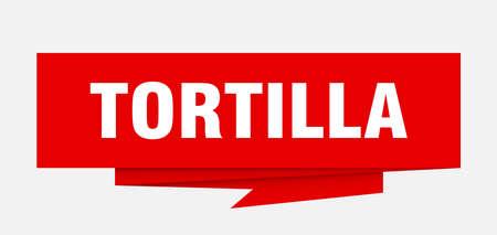 tortilla sign. tortilla paper origami speech bubble. tortilla tag. tortilla banner