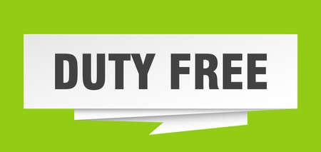 duty free sign. duty free paper origami speech bubble. duty free tag. duty free banner Illusztráció