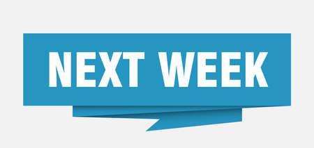 next week sign. next week paper origami speech bubble. next week tag. next week banner Illustration