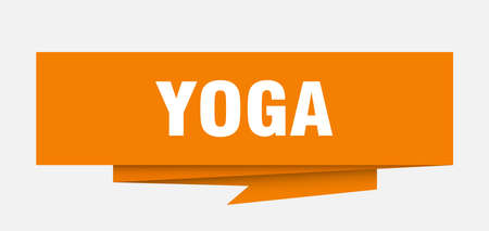yoga sign. yoga paper origami speech bubble. yoga tag. yoga banner