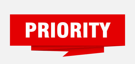 priority sign. priority paper origami speech bubble. priority tag. priority banner