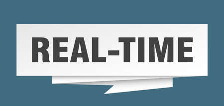 real-time sign. real-time paper origami speech bubble. real-time tag. real-time banner Illustration