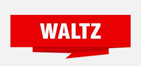 waltz sign. waltz paper origami speech bubble. waltz tag. waltz banner Illustration