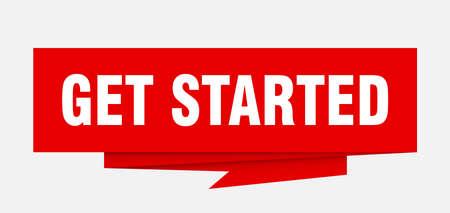 Los geht's Zeichen. Erste Schritte Papier-Origami-Sprechblase. Get Started-Tag. los geht's banner Vektorgrafik