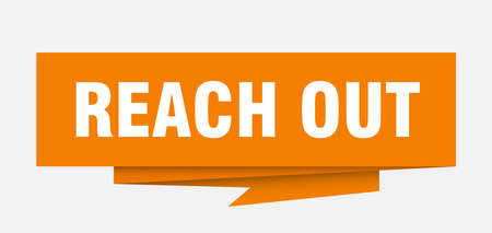 reach out sign. reach out paper origami speech bubble. reach out tag. reach out banner