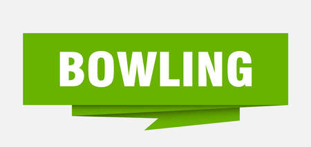 bowling sign. bowling paper origami speech bubble. bowling tag. bowling banner Ilustração